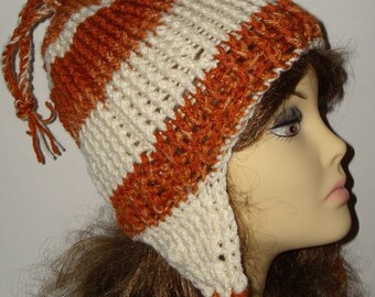 Textured Ski Hats/Hand Crocheted Slouchy Hats/Unisex/Teen's/Snowboarders hats/with braided ties/Beanie Hat/Winter Hat/Women's Accessories