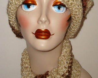 Crochet Crossed Stitch Matching Cloche Flapper Hat/Scarf Set/Cream & Barley/Winter Accessories/Fall Fashion/Warm/ Scarf/Cloche Hat/handmade