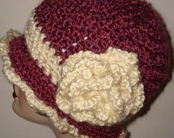 Elegant Edwardian Cloche Flapper Hat/Vintage Style/Womens Accessories/Warm Soft/With Matching Rose Flower/Women's Hat/Cloche Hat/Winter Warm