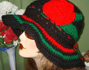 Hand Crochet Cloche Sun Hat Style II Black w/Red and Green Accents/Summer Cloche Hat/Women's Accessories/Fall Accessories/Fashion Beach Hat