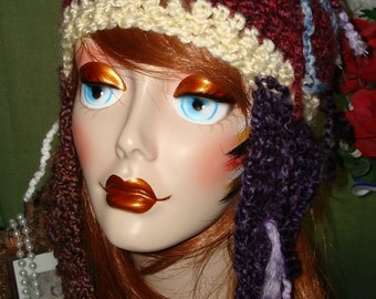 OOAK Hand Crochet Colorful Raggamuffin Ski Hat with Earflaps S4/Free US shipping/Ski Hat/Winter Hat/Fall Ski Hat/Multicolored/Unique Ski Hat