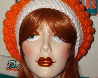 Slouchy Bobble Tam/Slouch Beret Teal/Orange/White/Design your colors. Women's Hat/Sporty slouchy tam