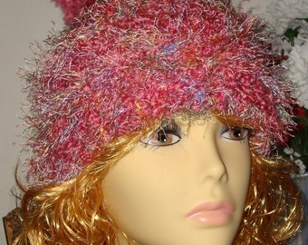 Hand Crochet Warm & Soft Furry Fun Slouchy Boston Rose Beanie Ski Hat/ Novelty Fur Trim/Pom Pom/Slouchy Hat/Women's /ClearanceWinter Fashion