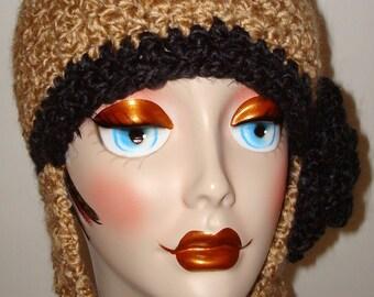 Cuddly Warm Hand Crochet Ski Hat with Ear Flap/Snow Boarders Hat/Fall-Winter accessories/Women Teens Accessories/With Crochet Rose Flower/