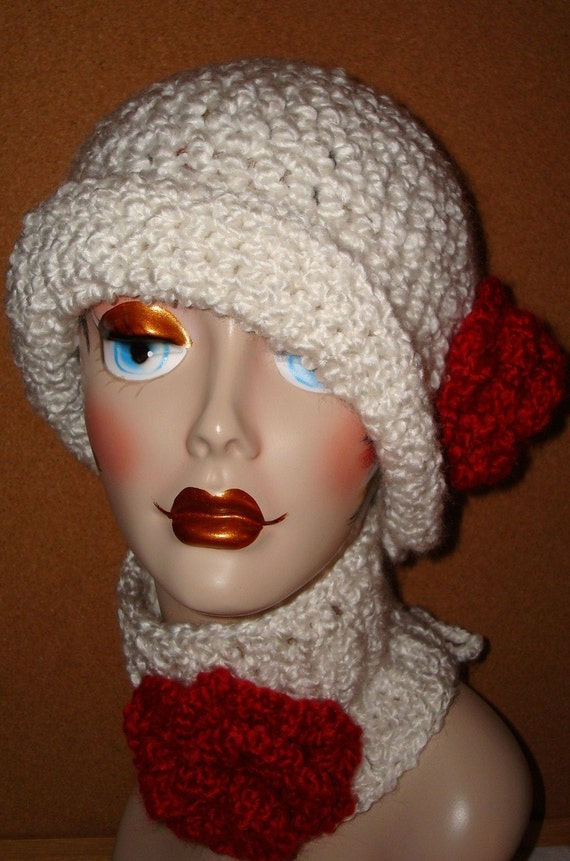 Crochet Hat Patterns With Cuff : Crochet Cloche Flapper Hat and Neck Cuff Set/Hand crochet