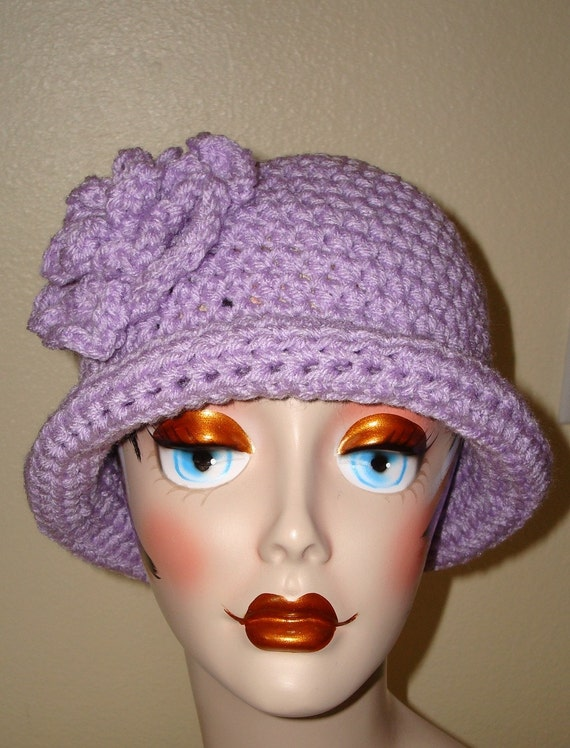 Crochet Cloche Hat Brim Pattern : Rolled Brim Cloche Hat w/Matching Crochet Flower/Womens