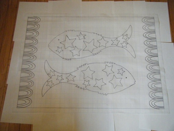 Primitive Fish With Stars Rug Hooking Pattern On Grided Trace