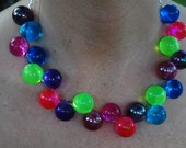 Necklace - Big Multicolored Beads on Silver Chain - Birthday Pony III