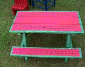 Hand painted childrens picnic table watermelon design