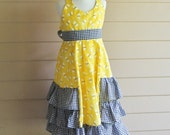 Handmade Halter Sundress in Bee Print with Black Checks