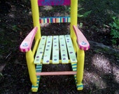 Childrens Rocking Chair, Hand Painted Yellow and Pink Striped Chair