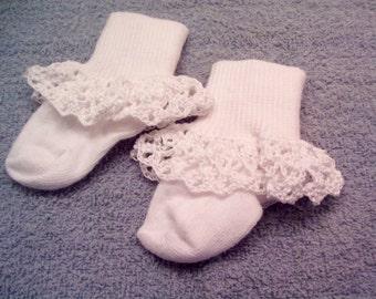 Girls Socks, White Crochet Lace Socks