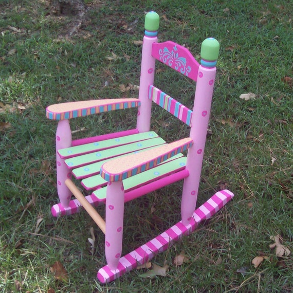 Rocking Chair, Hand Painted Sherbet Color Rocking Chair