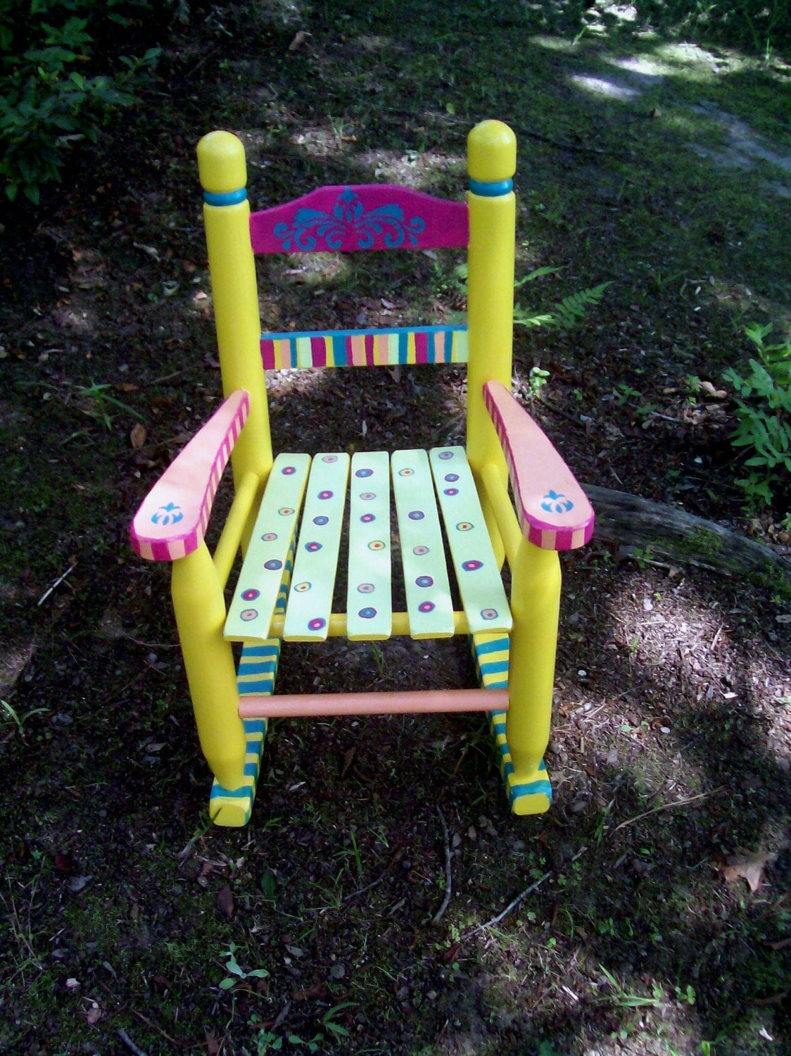 Childrens Rocking Chair Hand Painted Yellow And Pink Striped