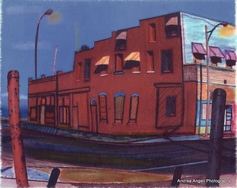 The Red Building. Matted fine art photograph/illustration