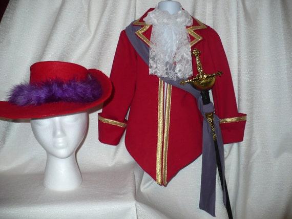 Disney inspired Captain Hook Costume for Halloween/Dress Up, Size 3/4, six piece set