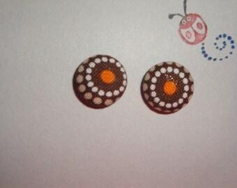 Joel Dewberry Sunburst in Brown - Fabric Covered Stud Earrings - 1 pair