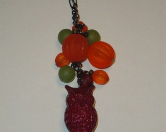 Owl Cluster Necklace - Plum