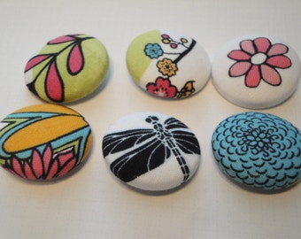 Par Avion Fabric Covered Buttons - Set of 6