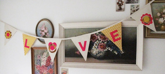 Bunting with word LOVE