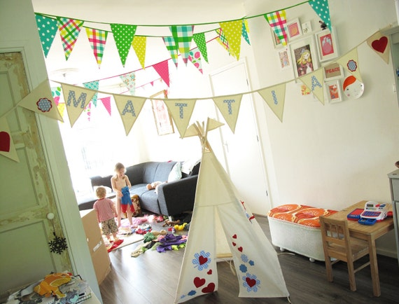 Bunting flags personalised with a name 10 flags