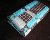 Modern Baby Quilt  Chocolate Fields Under Turquoise Sky