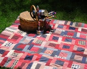 Frayed-Edge Quilt   FOURTH JULY PICNIC - Red White and Blue - Reversible - Patriotic