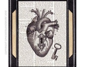 "Dictionary art print ANATOMICAL HEART ""Unlock my HEART"" vintage Skeleton Key to My Heart Steampunk dictionary book page Love Victorian 8x10"
