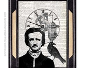 POE Edgar Allan art print Nevermore Raven Steampunk Clock upcycled vintage dictionary book page black crow wall decor horror literature 8x10