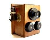 Vintage retro OFFICE PENCIL SHARPENER designed as antique telephone box wood brown mid century office decor