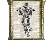 Key Hole and SKELETON KEY art print Victorian wall decor on upcycled vintage dictionary book page Door Lock with Roses black white 8x10, 5x7