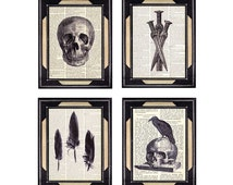 GOTHIC Collection art prints Skull Crow Feather Daggers spooky goth medieval wall decor on vintage dictionary book page black white 5x7 8x10