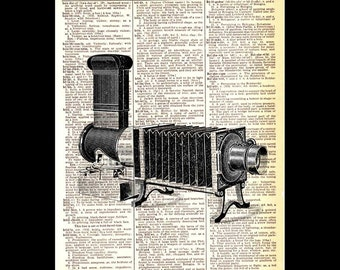 PhotoCAMERA art print vintage illustration wall decor black white retro photography photographer on upcycled dictionary book page 8x10, 5x7