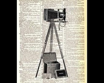 FOLDING CAMERA vintage illustration art print wall decor on upcycled dictionary book page retro photography photographer black white 8x10