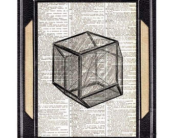 CRYSTAL art print wall decor Natural Science Mineralogy Geometric Vintage ENGRAVING on upcycled dictionary book page black white 8x10, 5x7