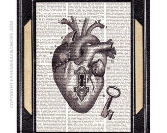 "ANATOMICAL HEART and Skeleton Key ""Unlock my Heart""  art print on vintage dictionary book page Victorian Edwardian Steampunk Love 8x10"