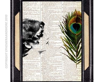 PEACOCK OBJET D'Art art print wall decor on upcycled vintage dictionary book page Victorian Feather bird woman girl lady black green 8x10