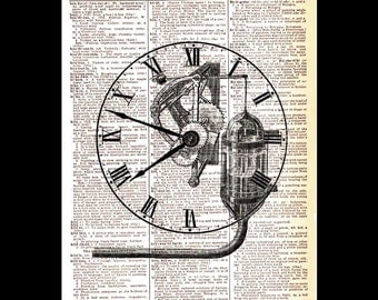 Antique CLOCK art print wall decor vintage illustration on upcycled dictionary book page steampunk clock face mechanism movement 8x10, 5x7