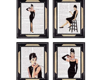 AUDREY HEPBURN 4 art prints set Breakfast at Tiffanys actor actress retro movie cinema on vintage dictionary book page wall decor poster 5x7