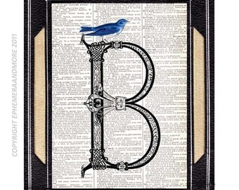 B ALPHABET LETTER with Beautiful Blue Bird Victorian Initial Monogram Ornate art print wall decor on vintage dictionary book page 5x7