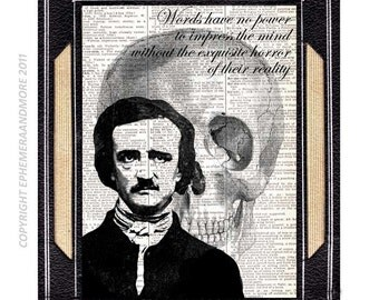Edgar Allan Poe art print wall decor poster quote horror literature skull writer black white illustration vintage dictionary book page 8x10