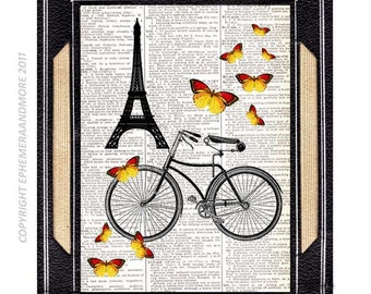 Retro Bicycle art print PARIS Tour de Eiffel France wall decor summer butterflies bike on upcycled vintage dictionary text book page 8x10