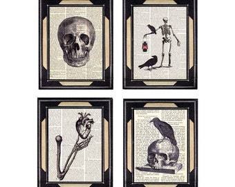 NECROPOLIS 4 art prints Skull Skeleton Heart Crow Poe Raven Horror Literature illustrations on vintage dictionary book page black wall decor