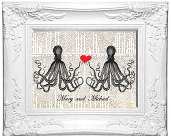 Wedding Anniversary Love OCTOPUS COUPLE art print nautical beach ocean sea valentine black red wall decor vintage dictionary book page  8x10
