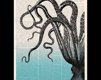 OCTOPUS Tentacles art print wall decor on vintage dictionary book page cephalopod ombre blue ocean sea marine animal natural science 8x10