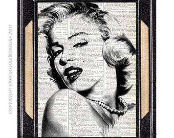 MARILYN MONROE art print wall decor actor actress movie cinema retro mid-century on upcycled vintage dictionary book page black white 8x10