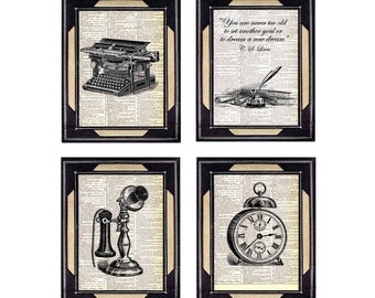 VINTAGE OFFICE art print wall decor Lewis quote typewriter clock telephone black white illustration on upcycled vintage dictionary 8x10, 5x7
