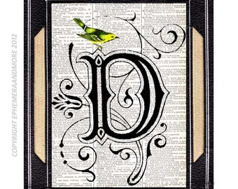 LETTER D Initial Monogram Alphabet on vintage book page art print Victorian Edwardian yellow or blue bird wall decor Birthday Gift 5x7