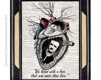 Edgar Allan Poe and Virginia art print love heart horror literature quote steampunk wall decor on vintage dictionary book page 5x7, 8x10