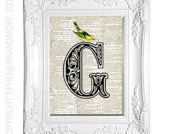 G Ornate Alphabet Letter art print on repurposed vintage dictionary text book page Initial monogram Victorian Edwardian Yellow Bird 5x7""